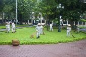 Workers clean a park