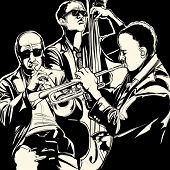 image of double-bass  - Vector illustration of a jazz band with  trumpet and double bass - JPG