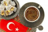Turkish coffee, flag, and turkish delight