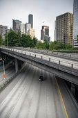 Four Lane Highway Interstate 5 Carries Automobile Travelers Under Seattle