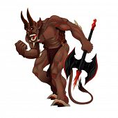 Angry demon. Cartoon vector isolated character.