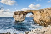 image of gozo  - Azure Window natural arch featuring a table - JPG