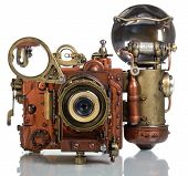 stock photo of copper  - Photo camera on a white background - JPG