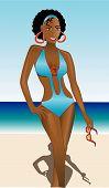 stock photo of monokini  - Beach Fashion Beautiful African American Woman in Monokini - JPG