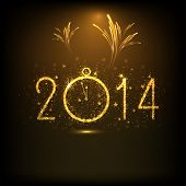 Happy New Year 2014 night celebration concept with golden text, clock and beautiful fireworks in the night.