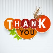 Thank You sticker, labels or tags with maple leaves and wheat on vintage grey background.