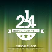 Shiny Happy New Year 2014 celebration party poster, banner or invitations on shiny green and yellow background.
