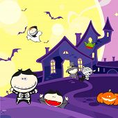 Cute Halloween creatures and a scary house (raster version)