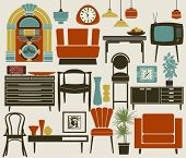 Retro Furniture, Accessories and Appliances, including diner-style settee, jukebox, TV set, wall and