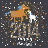 picture of foal  - Happy New 2014 Year card in stylish modern colors - JPG