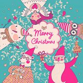 Stylish vector Merry Christmas card in bright colors. Cute Santa Claus, Funny Bear in glasses, sweet