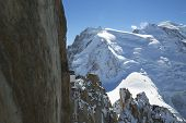 Mont-Blanc terrace at the mountain top station of the Aiguille du Midi