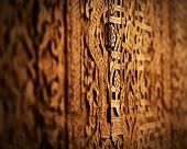 Grungy oriental texture on a wood. Door in one of Uzbekistans' mosque