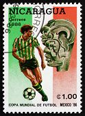 Postage Stamp Nicaragua 1986 Soccer Player In Action