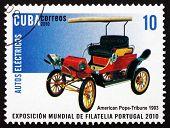 Postage Stamp Cuba 2010 Pope-tribune, Electric Car, 1903