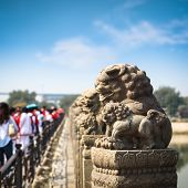 Stone Lion Closeup In Beijing