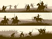 stock photo of battle  - Horizontal vector banners of battle fighting swordsmen spearmen and cavalry in the battle field - JPG