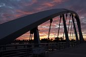 The new Main Street Bridge in Columbus, Ohio at sunset
