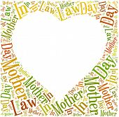 Tag Or Word Cloud Mother In Law Day Related In Shape Of Heart