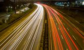 Light trail on a busy motorway
