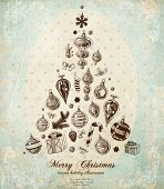 Christmas Tree Made of Xmas engraved icons and hand drawn elements, vintage old paper texture, floral corner decorations, polka dot background for Xmas card retro design