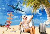image of bimbo  - Young woman on the beach Travel concept - JPG