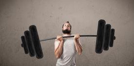 image of incredible  - Funny skinny guy lifting incredible weights - JPG