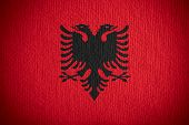 picture of albania  - flag of Albania or Albanian banner on paper background - JPG
