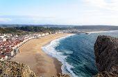 View Over Nazare Beach In Portugal