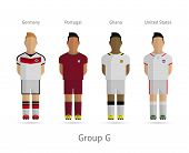 Football teams. Group G - Germany, Portugal, Ghana, United States