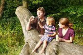 Family Of Three Blowing Soap Bubbles Together In Summer Forest
