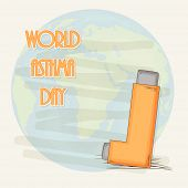 stock photo of breathing exercise  - World Asthma Day concept with asthma inhaler with globe and stylish text - JPG