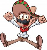 Cartoon Mexican cowboy. Vector clip art illustration with simple gradients. All in a single layer.