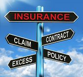 stock photo of policy  - Insurance Signpost Meaning Claim Excess Contract And Policy - JPG