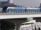 Train approaching Oud Metha Metro Station in Dubai, UAE