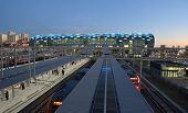 ADLER, SOCHI, RUSSIA - FEBRUARY 12, 2014: High-speed trains on the railway station of Adler. New pas