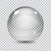 stock photo of orbs  - Transparent glass sphere with shadow on a plaid background - JPG
