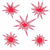 Red Burst Sign Set. Vector Illustration