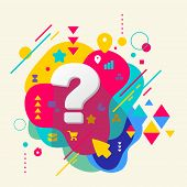 Question Mark On Abstract Colorful Spotted Background With Diffe