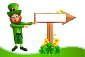Leprechaun for patricks day with sign