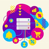 Database On Abstract Colorful Spotted Background With Different Icons And Elements
