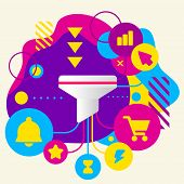 Funnel On Abstract Colorful Spotted Background With Different Icons And Elements