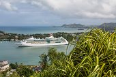 pic of cruise ship caribbean  - Luxury cruise ship docked in harbor of St Lucia in the Caribbean - JPG