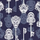 Seamless Ornate Pattern with Keys (Vector)