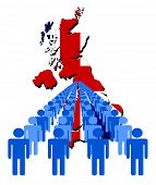 Lines of people with UK map flag vector illustration