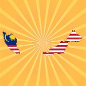 Malaysia map flag on sunburst vector illustration
