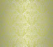 green & silver vintage seamless floral background design