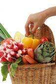 hand taking vegetable