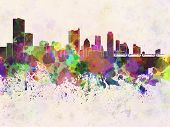Austin Skyline In Watercolor Background