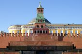 stock photo of lenin  - The Mausoleum of Lenin and Kremlin wall on Red Square - JPG
